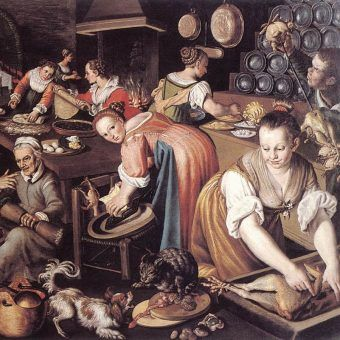 "Na ilustracji fragment obrazu Vincenza Campi ""Kuchnia"" (ok. 1580)."