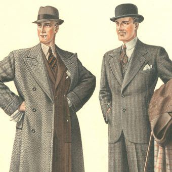Wytworni przedwojenni dżentelmeni. Ilustracja z katologu mody męskiej z 1935 roku