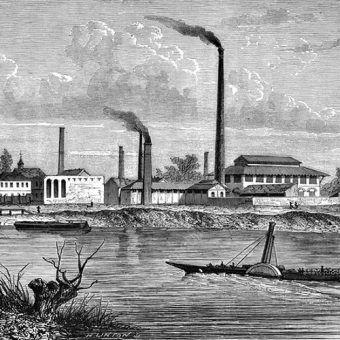 XIX-wieczna fabryka na rycinie z 1875 roku.