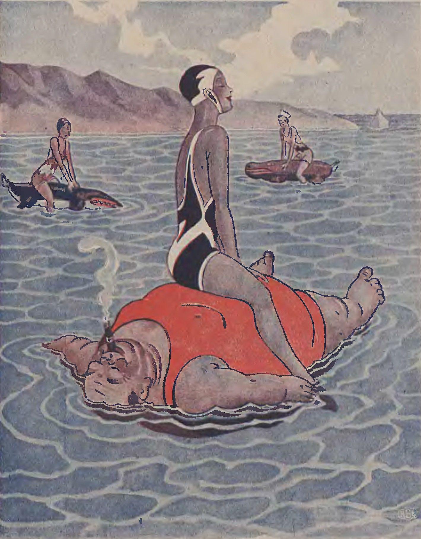 Ponton. Ilustracja z pisma Wolna myśl, wolne żarty. 1932 rok