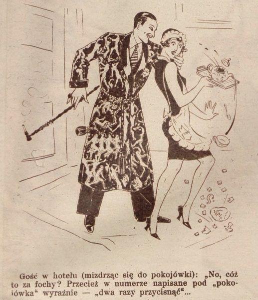 Zbyt dosłownie. Żart rysunkowy opublikowany w roku 1929 w popularnym tygodniku Światowid