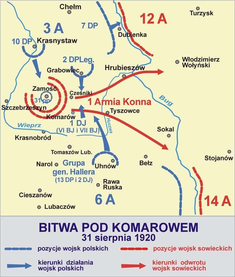 Plan polskiego dowództwa zakładał otoczenie armii Budionnego. Na ilustracji rozmieszczenie oddziałów w trakcie bitwy.