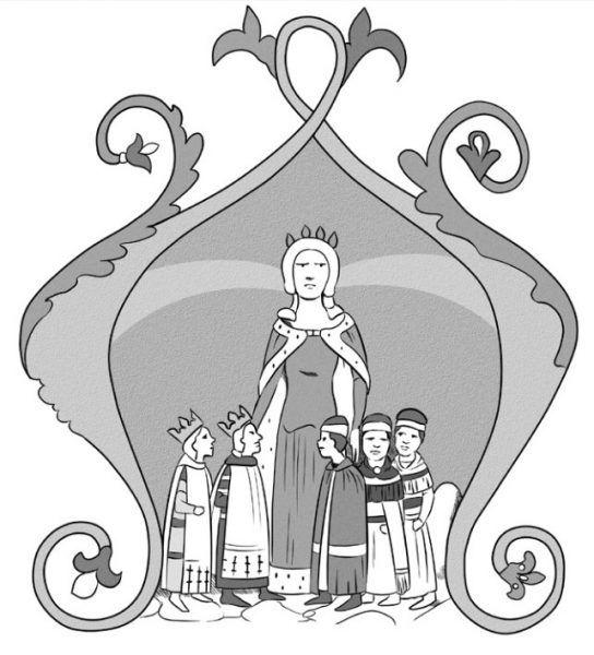 Elżbieta Łokietkówna w otoczeniu dzieci. Miniatura z tzw. Kroniki Ilustrowanej