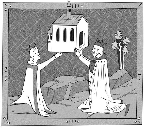 Elżbieta jako łaskawa donatorka i pobożna władczyni. Miniatura z tzw. Kroniki Ilustrowanej