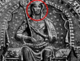 Elżbieta tronująca. Wyobrażenie królowej Elżbiety Łokietkówny z pieczęci wykonanej wkrótce po jej koronacji