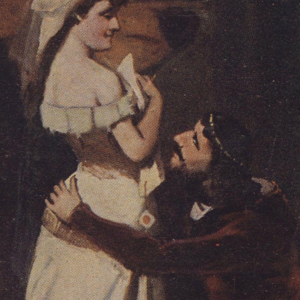 Król Kazimierz z jedną ze swoich kochanic, w wyobrażeniu Jana Moniuszki. Obraz z pierwszej połowy XX wieku