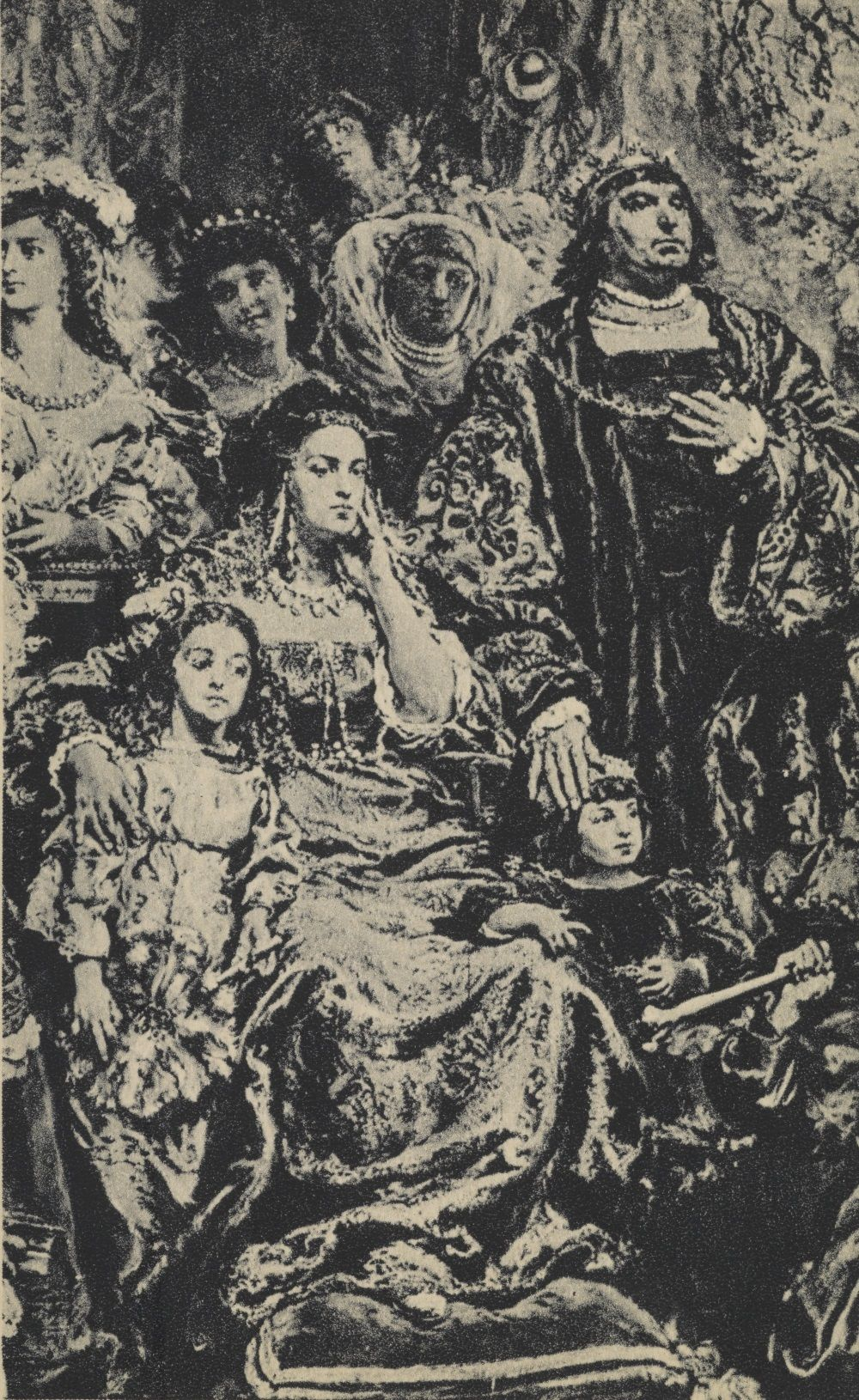 Królowa Bona wraz z mężem i małoletnim synem. Szkic Jana Matejki.