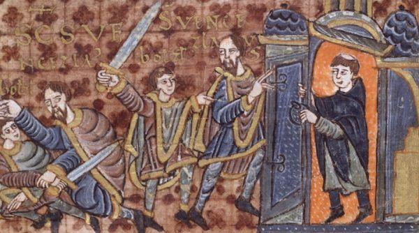 Na ilustracji Bolesław morduje Wacława, a przekupiony duchowny odcina ofierze drogę ucieczki. Iluminacja z jednej z najcenniejszych czeskich ksiąg – kodeksu z Wolfenbüttel.