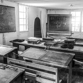 Przedwojenna niemiecka klasa szkolna.
