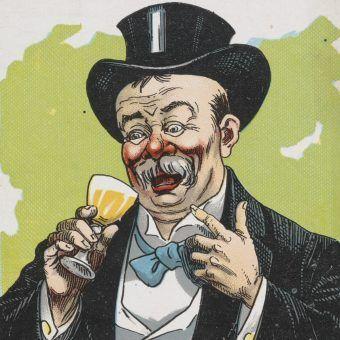 W Niemczech od dawna przestrzegano kobiety, by uważały co mężczyźni dosypują im do drinków. Na ilustracji niemiecka pocztówka z początku XIX wieku