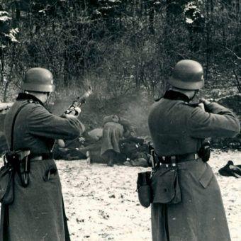 Egzekucja Polaków w Bochni niedaleko Krakowa. 18 grudnia 1939 roku.