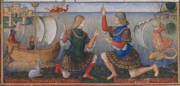 Mąż Izabeli Gian Galeazzo Sforza był marionetką w rękach stryja Ludwika Sforzy. Powyżej obaj na XV-wiecznej miniaturze.