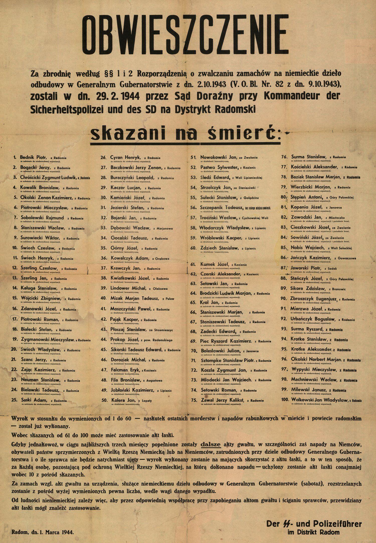 """Niemieckie obwieszczenie z lutego 1944 o skazaniu 100 Polaków na śmierć za """"zamach na dzieło niemieckiej odbudowy Generalnego Gubernatorstwa""""."""