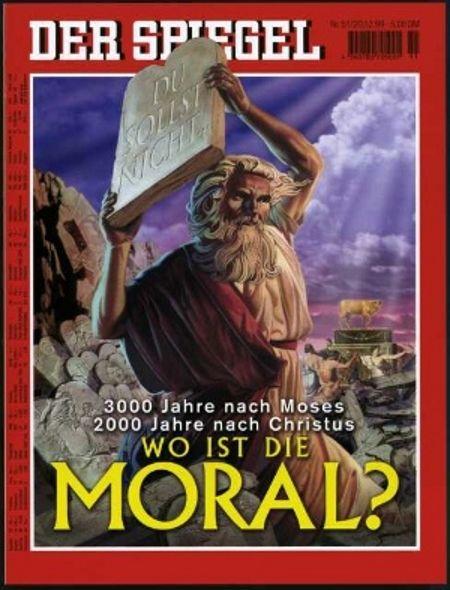 Okładka grudniowego numer Spiegela, zapowiadająca materiał poświęcony moralności.
