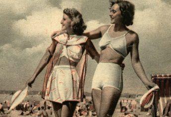 """Najmodniejsze stroje plażowe prezentowane przez tygodnik """"Światowid"""" latem 1939 roku."""