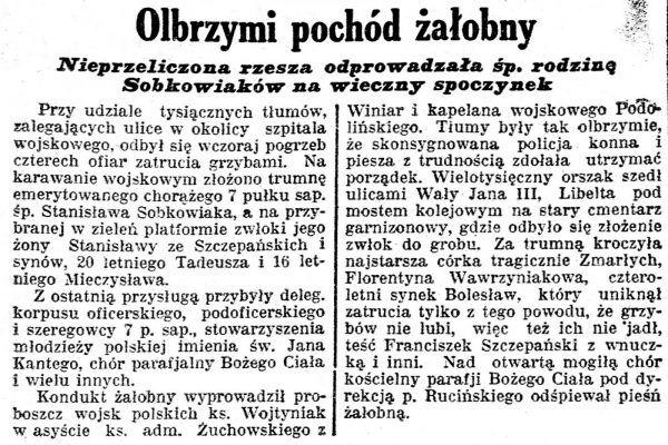 """Notka prasowa z """"Kurjera Poznańskiego"""" opisująca pogrzeb Sobkowiaków."""