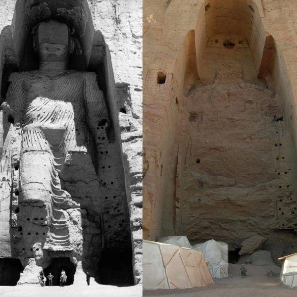 W 2001 roku afgańscy talibowie zniszczyli wizerunki Buddy w Bamyanie, co wywołało oburzenie. Fotografia przedstawia rzeźbę z 1963 roku (po lewej) i miejsce obecnie, gdzie została tylko nisza.