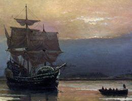 """Wiele rejsów przeszło do historii - między innymi ten na pokładzie żaglowca """"Mayflower""""."""