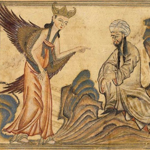 XIV wieczne przedstawienie proroka Mahometa. Od XVI stulecia wizerunki proroka musiały przedstawiać go z zakrytą chustą twarzą, co wyrażało pogląd, iż ciało nie może odzwierciedlić natury duchowej.