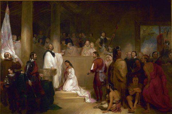 Pocahontas przyjęła nawet chrzest, co na płótnie przedstawił John Gadsby Chapman.