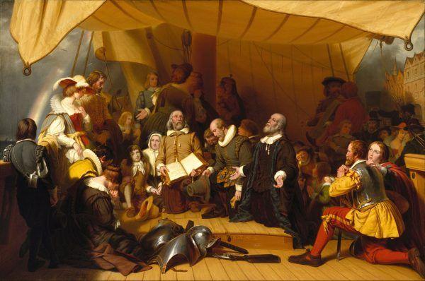 """Pasażerowie statku """"Mayflower"""" nie wiedzieli, co ich czeka na nowym, nieznanym lądzie. Obraz Roberta Waltera Weira."""