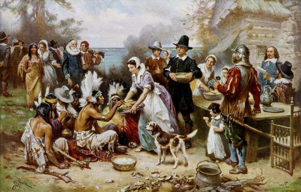 W pierwsze Święto Dziękczynienia Pielgrzymi i Indianie zorganizowali wspólną ucztę.