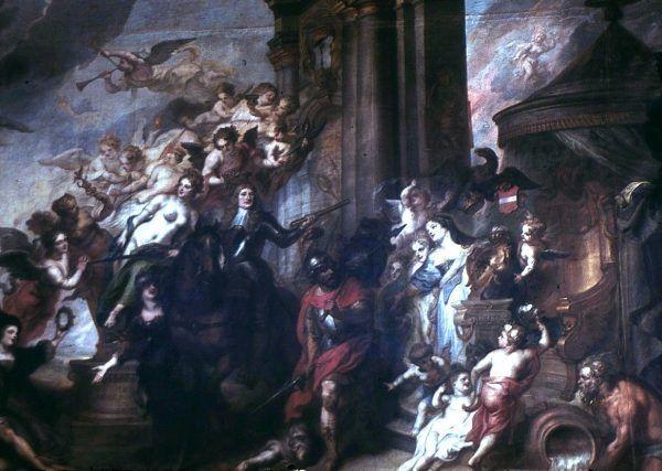 Na mocy pokoju oliwskiego Szwedzi mieli zwrócić między innymi archiwalia oraz Bibliotekę Królewską. Nigdy jednak do tego nie doszło. Na ilustracji alegoria pokoju oliwskiego pędzla Theodoora van Thuldena.
