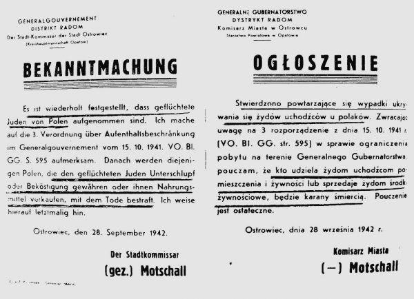 Niemcu nie pozostawiali złudzeń jaki los czeka tych, którzy pomagają Żydom. Na ilustracji ostrzeżenie Bruno Motschalla wobec Polaków ukrywających Żydów.