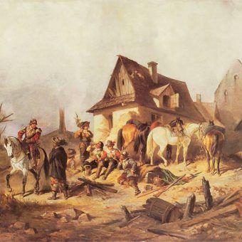 """W trakcie Potopu Szwedzi niemal doszczętnie ograbili Polskę. Na ilustracji fragment obrazu Henryka Pilattiego """"Szwedzi""""."""