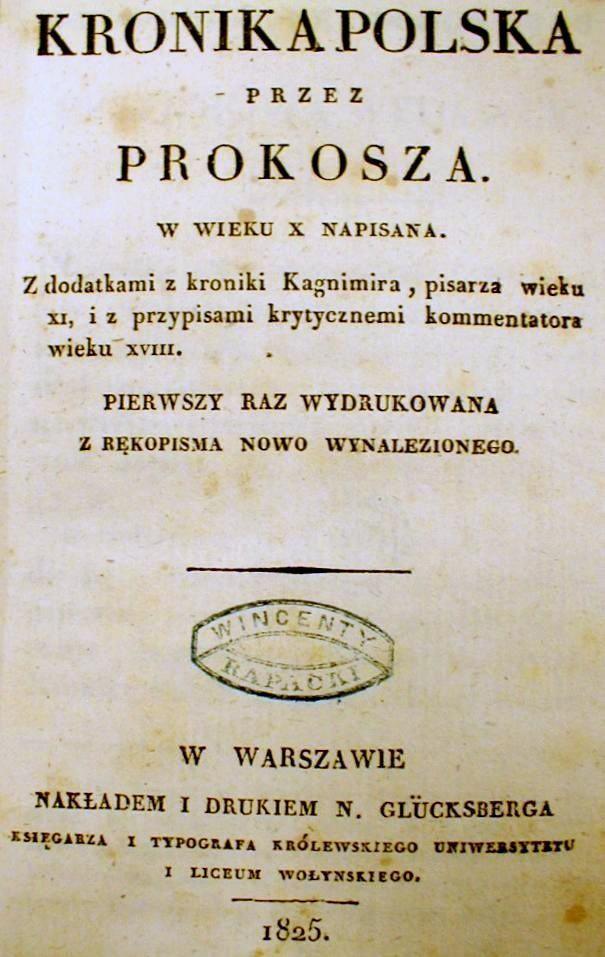 Strona tytułowa pierwszego wydania Kroniki Prokosza z 1825 roku
