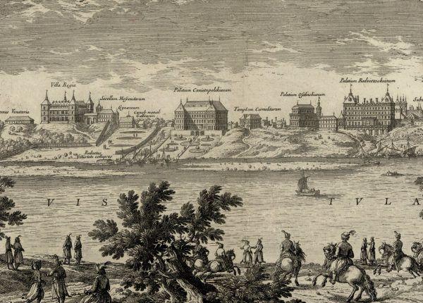 Villa Regia widoczna na fragmencie panoramy Warszawy autorstwa Erika Dahlberga.