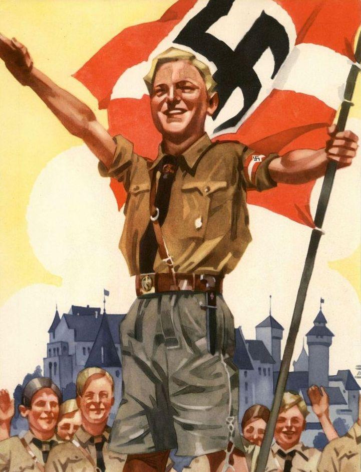 """Himmler w Lebensborn zamierzał """"hodować"""" idealnych Aryjczyków. Na ilustracji nazistowski plakat propagandowy"""