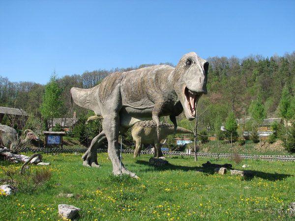 Dla tyranozaura padlina była tylko wygodnym, darmowym obiadem. Model z JuraParku w Bałtowie.