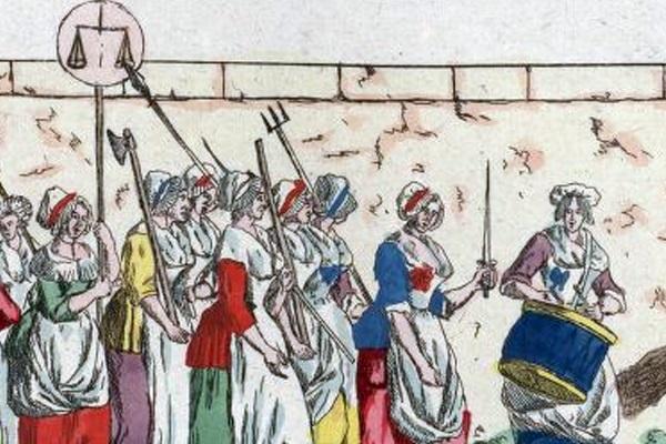 W pochodzie do Wersalu wzięło udział kilka tysięcy kobiet.