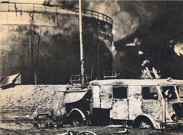 Podczas akcji gaszenia rafinerii zginęły 33 osoby, zniszczeniu uległy 22 samochody, 1,5 kilometra torów kolejowych, lokomotywa oraz nieprzebrane ilości sprzętu gaśniczego.