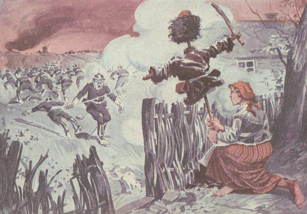 Cały oddział mężczyzn trwożliwszy od jednej kobiety? W tym rysunku propagandowych z 1915 roku kryło się o wiele więcej prawdy, niż sądził jego autor...