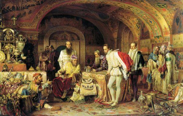 Car Iwan Groźny, który postarał się o nową redakcję Domostroja, chwali się swoimi skarbami (fot. domena publiczna)