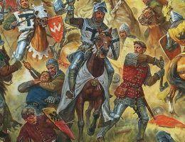 Fragment obrazu Artura Olegowicza Orłionowa pt. Halickie sztandary w bitwie pod Grunwaldem 1410