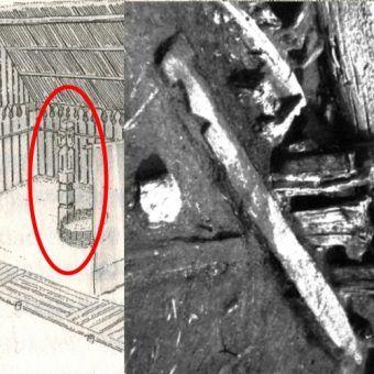 Fragment rekonstrukcji wrocławskiej świątyni według S. Moździocha oraz rzeźbiona dranica z Ostrowa Tumskiego na fotografii wykonanej podczas badań archeologicznych.