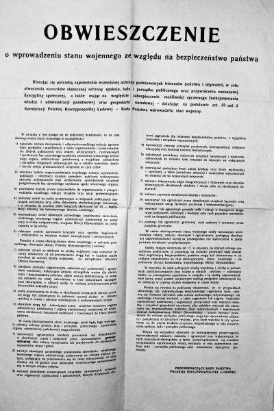 Obwieszczenie Rady Państwa o wprowadzeniu stanu wojennego.