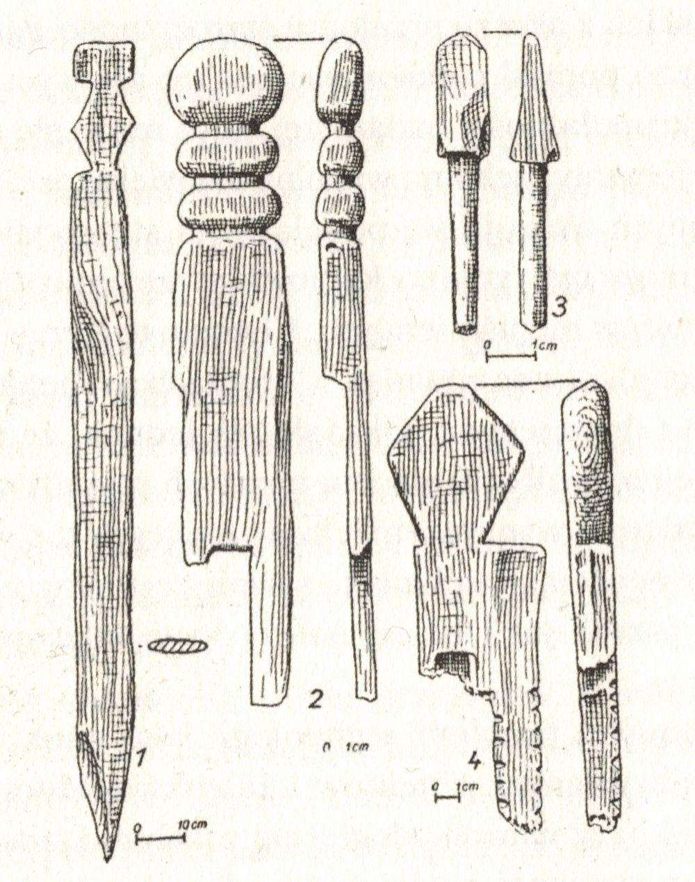 Ozdobne elementy z domniemanej świątyni we Wrocławiu. Ilustracja z książki Religie dawnych Słowian