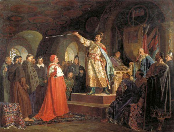 Książę halicki Roman Mścisławowicz namalowany przez Nikołaja Newrewa.