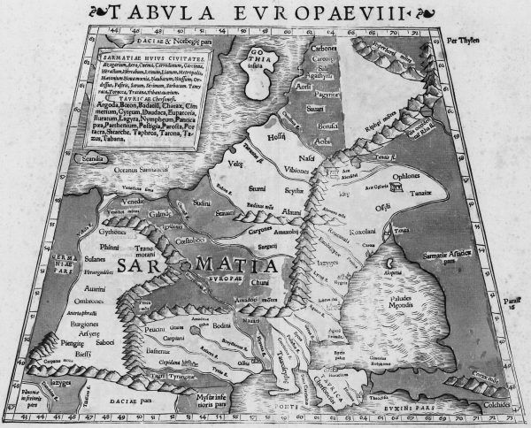 Mapa z atlasu Klaudiusza Ptolemeusza (wydanego w 1542 roku) ukazująca ziemie, które w starożytności mieli zamieszkiwać Sarmaci.