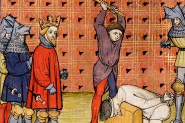 """Profesja kata nie należała może do najprzyjemniejszych, ale w średniowieczu była jedną z najbardziej potrzebnych. Ilustracja z XIV-wiecznego manuskryptu """"Chroniques de France ou de St Denis""""."""