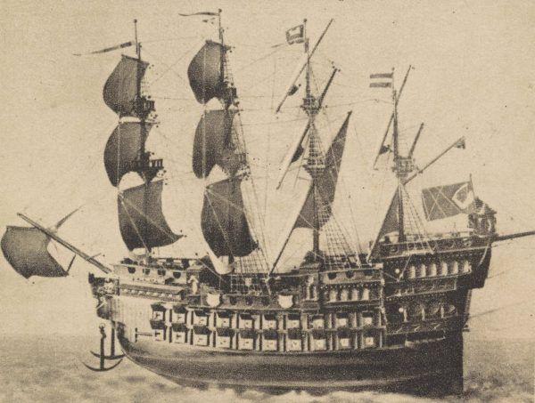 """Polski okręt admiralski, galeon """"Święty Jerzy""""."""
