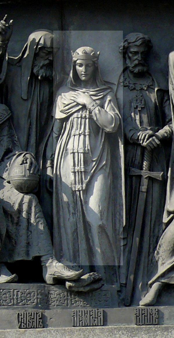 Anastazja Romanowna na monumencie w Nowogrodzie Wielkim (fot. Дар Ветер, lic. CC BY-SA 3.0)