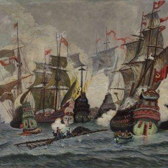 Bitwa pod Oliwą na obrazie Włodzimierza Jana Nałęcza.