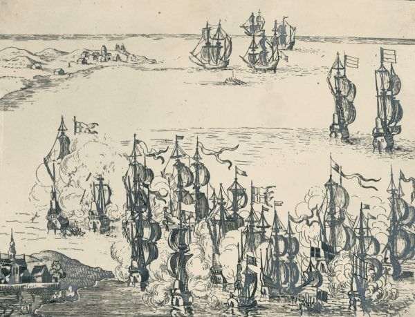 Bitwa pod Oliwą na holenderskim sztychu.