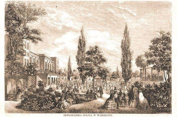 Dolina Szwajcarska w Warszawie w 1860 roku, czyli w roku ukazania się dzieła życia Ćwierczakiewiczowej (fot. Tygodnik Ilustrowany, domena publiczna)
