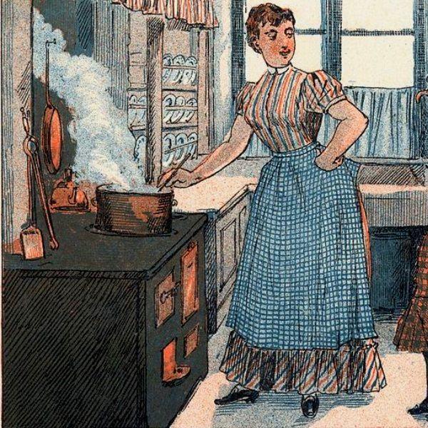 Dziewiętnastowieczna kuchnia na norweskiej ilustracji (fot. domena publiczna)